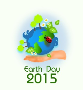 Background for earth day with globe and hand illustration