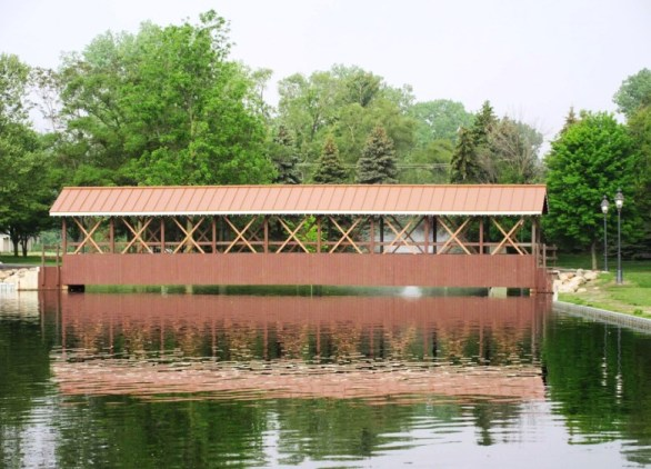 covered bridge with reflection