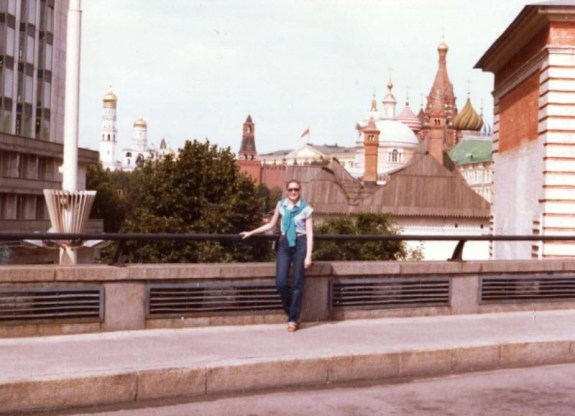 Linda in front of cathedrals