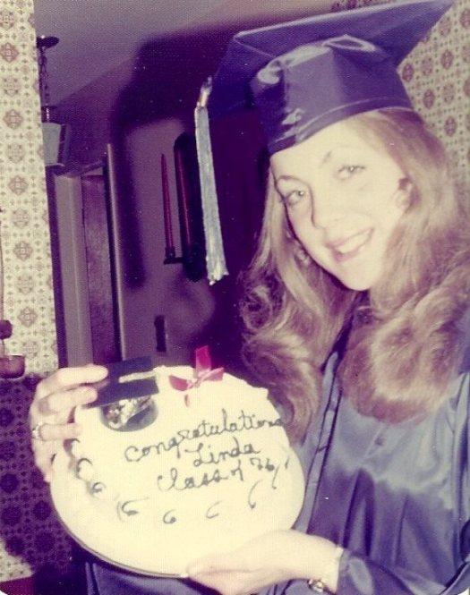 linda with cake