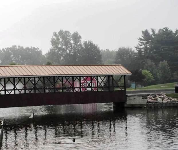 bridge in mist