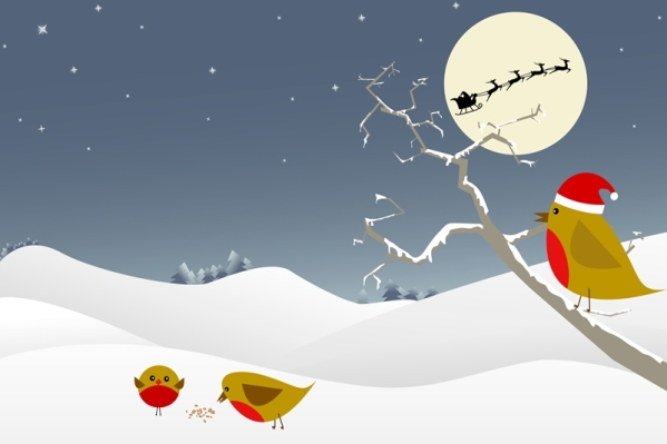 Christmas scene featuring red robins, santa and his reindeer.